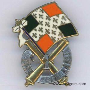 1° Régiment d'Artillerie Drapeau orange et vert foncé