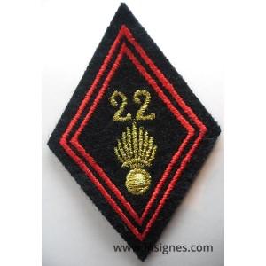 Tissu Losange 45 22° Bataillon d'Infanterie Cadres