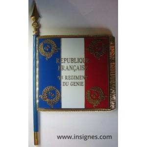 9° Régiment du Génie Drapeau émaillé + le nom des batailles