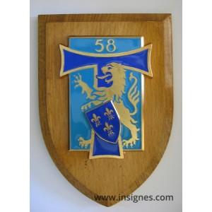 58° Régiment des Transmissions Grand modèle sur écu bois
