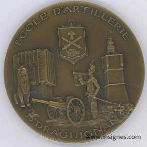 Ecole d'Artillerie Draguignan Médaille de table bronze Diamètre 65 mm
