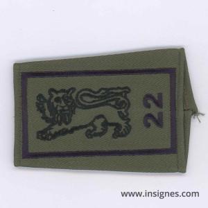 22° Bataillon d' Infanterie Passant d'épaule Noir Tissu